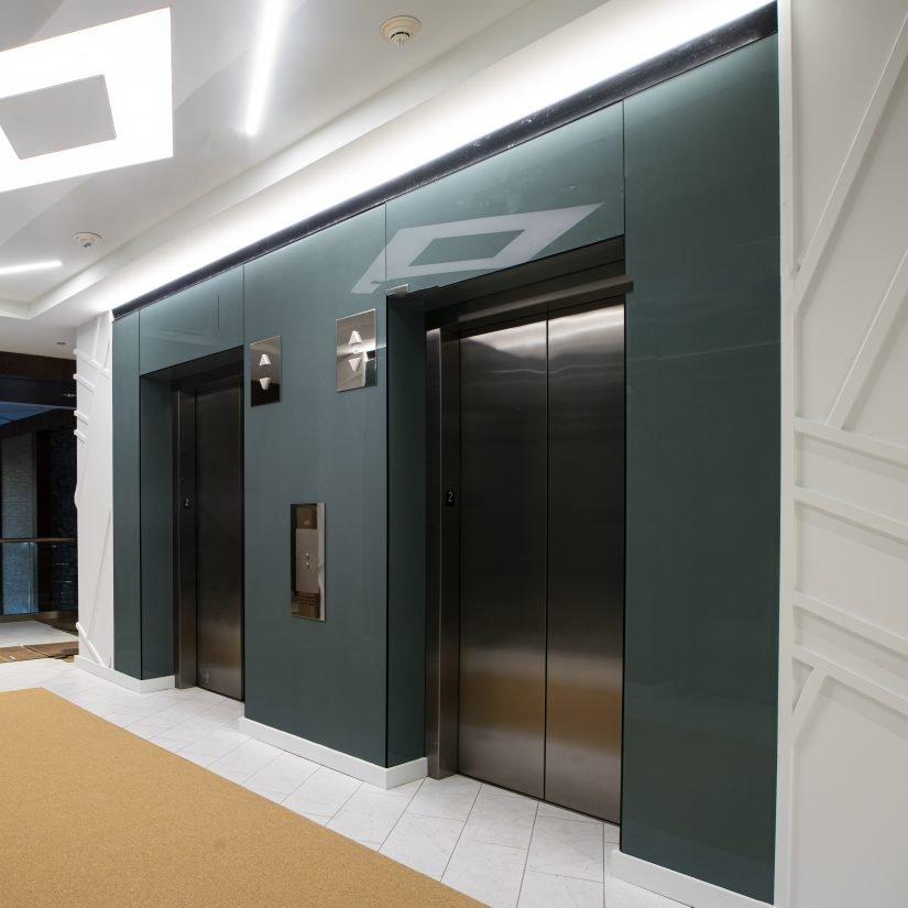 Color Elevator Glass Lobby
